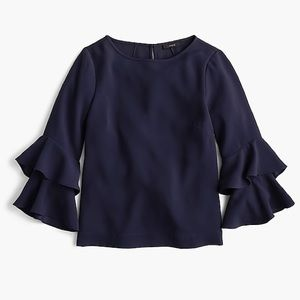 Tiered bell-sleeve top in drapey crepe Navy